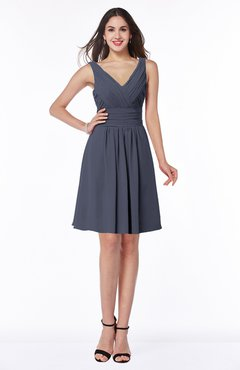 ColsBM Celia Nightshadow Blue Plain Sleeveless Half Backless Chiffon Knee Length Ruching Plus Size Bridesmaid Dresses