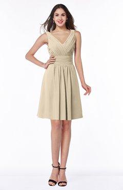 ColsBM Celia Novelle Peach Plain Sleeveless Half Backless Chiffon Knee Length Ruching Plus Size Bridesmaid Dresses