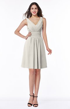 ColsBM Celia Off White Plain Sleeveless Half Backless Chiffon Knee Length Ruching Plus Size Bridesmaid Dresses