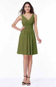 ColsBM Celia Olive Green Plain Sleeveless Half Backless Chiffon Knee Length Ruching Plus Size Bridesmaid Dresses