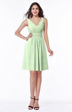 ColsBM Celia Pale Green Plain Sleeveless Half Backless Chiffon Knee Length Ruching Plus Size Bridesmaid Dresses