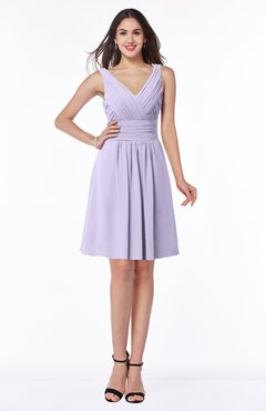 ColsBM Celia Pastel Lilac Plain Sleeveless Half Backless Chiffon Knee Length Ruching Plus Size Bridesmaid Dresses