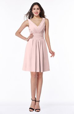 ColsBM Celia Pastel Pink Plain Sleeveless Half Backless Chiffon Knee Length Ruching Plus Size Bridesmaid Dresses