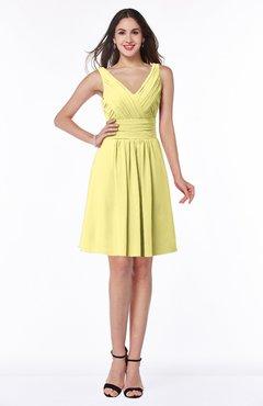 ColsBM Celia Pastel Yellow Plain Sleeveless Half Backless Chiffon Knee Length Ruching Plus Size Bridesmaid Dresses