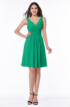 ColsBM Celia Pepper Green Plain Sleeveless Half Backless Chiffon Knee Length Ruching Plus Size Bridesmaid Dresses