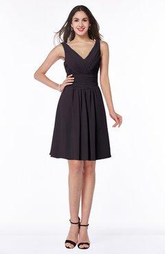 ColsBM Celia Perfect Plum Plain Sleeveless Half Backless Chiffon Knee Length Ruching Plus Size Bridesmaid Dresses
