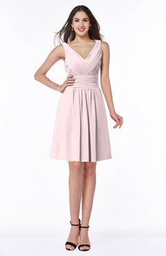 ColsBM Celia Petal Pink Plain Sleeveless Half Backless Chiffon Knee Length Ruching Plus Size Bridesmaid Dresses