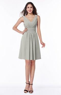 ColsBM Celia Platinum Plain Sleeveless Half Backless Chiffon Knee Length Ruching Plus Size Bridesmaid Dresses