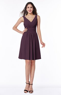 ColsBM Celia Plum Plain Sleeveless Half Backless Chiffon Knee Length Ruching Plus Size Bridesmaid Dresses
