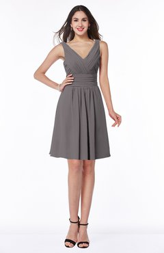 ColsBM Celia Ridge Grey Plain Sleeveless Half Backless Chiffon Knee Length Ruching Plus Size Bridesmaid Dresses