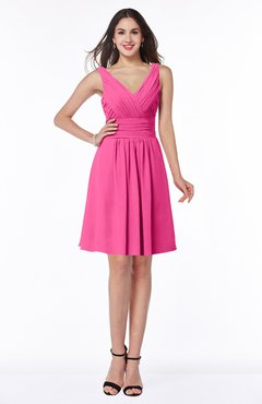 ColsBM Celia Rose Pink Plain Sleeveless Half Backless Chiffon Knee Length Ruching Plus Size Bridesmaid Dresses