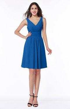 ColsBM Celia Royal Blue Plain Sleeveless Half Backless Chiffon Knee Length Ruching Plus Size Bridesmaid Dresses