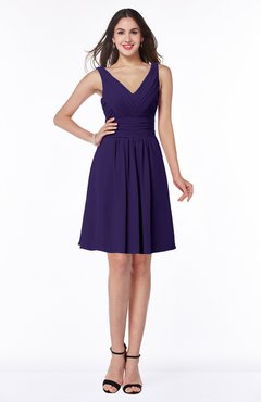 ColsBM Celia Royal Purple Plain Sleeveless Half Backless Chiffon Knee Length Ruching Plus Size Bridesmaid Dresses