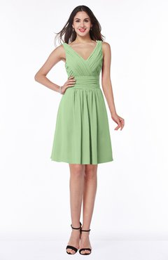 ColsBM Celia Sage Green Plain Sleeveless Half Backless Chiffon Knee Length Ruching Plus Size Bridesmaid Dresses