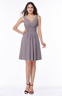 ColsBM Celia Sea Fog Plain Sleeveless Half Backless Chiffon Knee Length Ruching Plus Size Bridesmaid Dresses