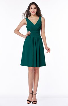 ColsBM Celia Shaded Spruce Plain Sleeveless Half Backless Chiffon Knee Length Ruching Plus Size Bridesmaid Dresses