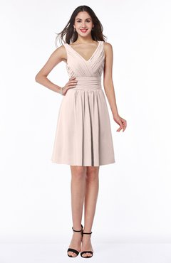 ColsBM Celia Silver Peony Plain Sleeveless Half Backless Chiffon Knee Length Ruching Plus Size Bridesmaid Dresses