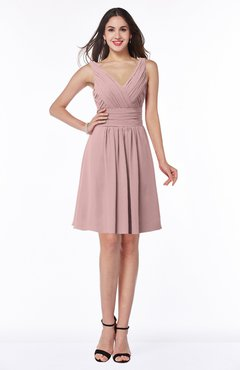 ColsBM Celia Silver Pink Plain Sleeveless Half Backless Chiffon Knee Length Ruching Plus Size Bridesmaid Dresses