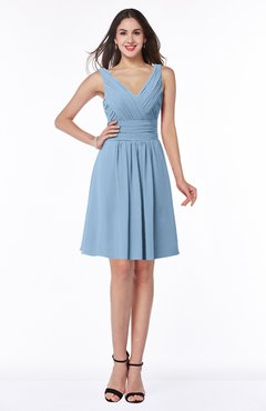 ColsBM Celia Sky Blue Plain Sleeveless Half Backless Chiffon Knee Length Ruching Plus Size Bridesmaid Dresses