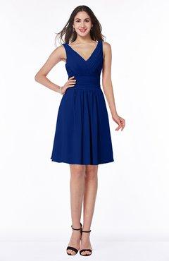 ColsBM Celia Sodalite Blue Plain Sleeveless Half Backless Chiffon Knee Length Ruching Plus Size Bridesmaid Dresses