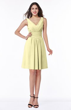 ColsBM Celia Soft Yellow Plain Sleeveless Half Backless Chiffon Knee Length Ruching Plus Size Bridesmaid Dresses