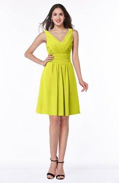 ColsBM Celia Sulphur Spring Plain Sleeveless Half Backless Chiffon Knee Length Ruching Plus Size Bridesmaid Dresses