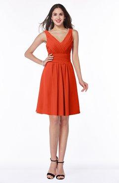 ColsBM Celia Tangerine Tango Plain Sleeveless Half Backless Chiffon Knee Length Ruching Plus Size Bridesmaid Dresses