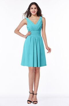 ColsBM Celia Turquoise Plain Sleeveless Half Backless Chiffon Knee Length Ruching Plus Size Bridesmaid Dresses