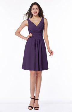 ColsBM Celia Violet Plain Sleeveless Half Backless Chiffon Knee Length Ruching Plus Size Bridesmaid Dresses
