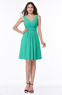 ColsBM Celia Viridian Green Plain Sleeveless Half Backless Chiffon Knee Length Ruching Plus Size Bridesmaid Dresses