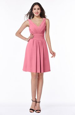 ColsBM Celia Watermelon Plain Sleeveless Half Backless Chiffon Knee Length Ruching Plus Size Bridesmaid Dresses