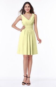ColsBM Celia Wax Yellow Plain Sleeveless Half Backless Chiffon Knee Length Ruching Plus Size Bridesmaid Dresses
