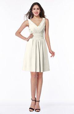 ColsBM Celia Whisper White Plain Sleeveless Half Backless Chiffon Knee Length Ruching Plus Size Bridesmaid Dresses