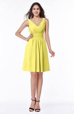 ColsBM Celia Yellow Iris Plain Sleeveless Half Backless Chiffon Knee Length Ruching Plus Size Bridesmaid Dresses