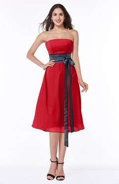 0b0581d1e7 ColsBM Renata Red Simple A-line Strapless Sleeveless Zip up Sash Plus Size  Bridesmaid Dresses