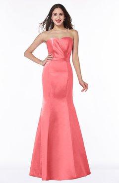 2e50b4999d3f ColsBM Sara Coral Simple Strapless Zip up Floor Length Sash Bridesmaid  Dresses