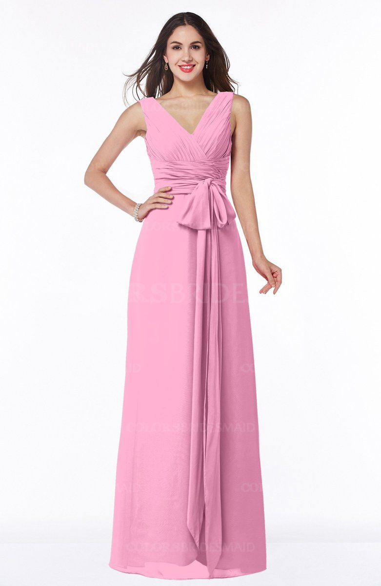Colsbm Pearl Pink Glamorous V Neck Sleeveless Chiffon Floor Length Plus Size Bridesmaid Dresses