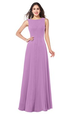 ColsBM Hazel Orchid Modern A-line Sleeveless Zip up Floor Length Pleated Plus Size Bridesmaid Dresses