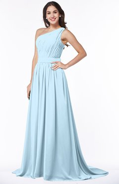 160fd06d64b ColsBM Kiana Ice Blue Gorgeous Zipper Chiffon Sweep Train Pleated Evening  Dresses