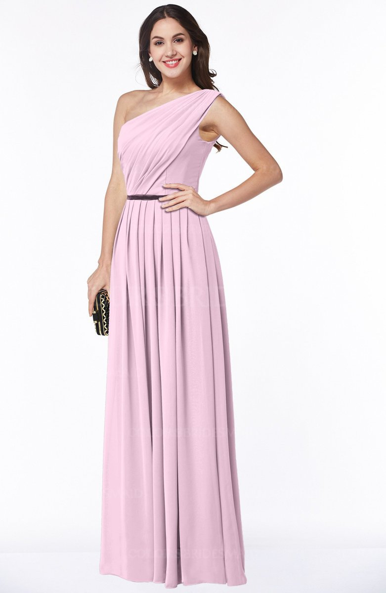 Colsbm Tiana Baby Pink Traditional A Line One Shoulder Chiffon Floor Length Plus Size Bridesmaid