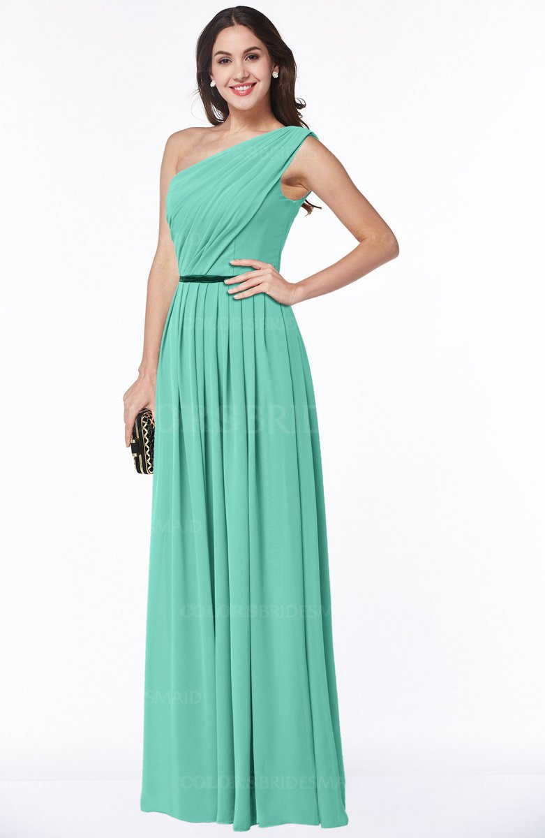 124821f771741 ColsBM Tiana Mint Green Traditional A-line One Shoulder Chiffon Floor Length  Plus Size Bridesmaid
