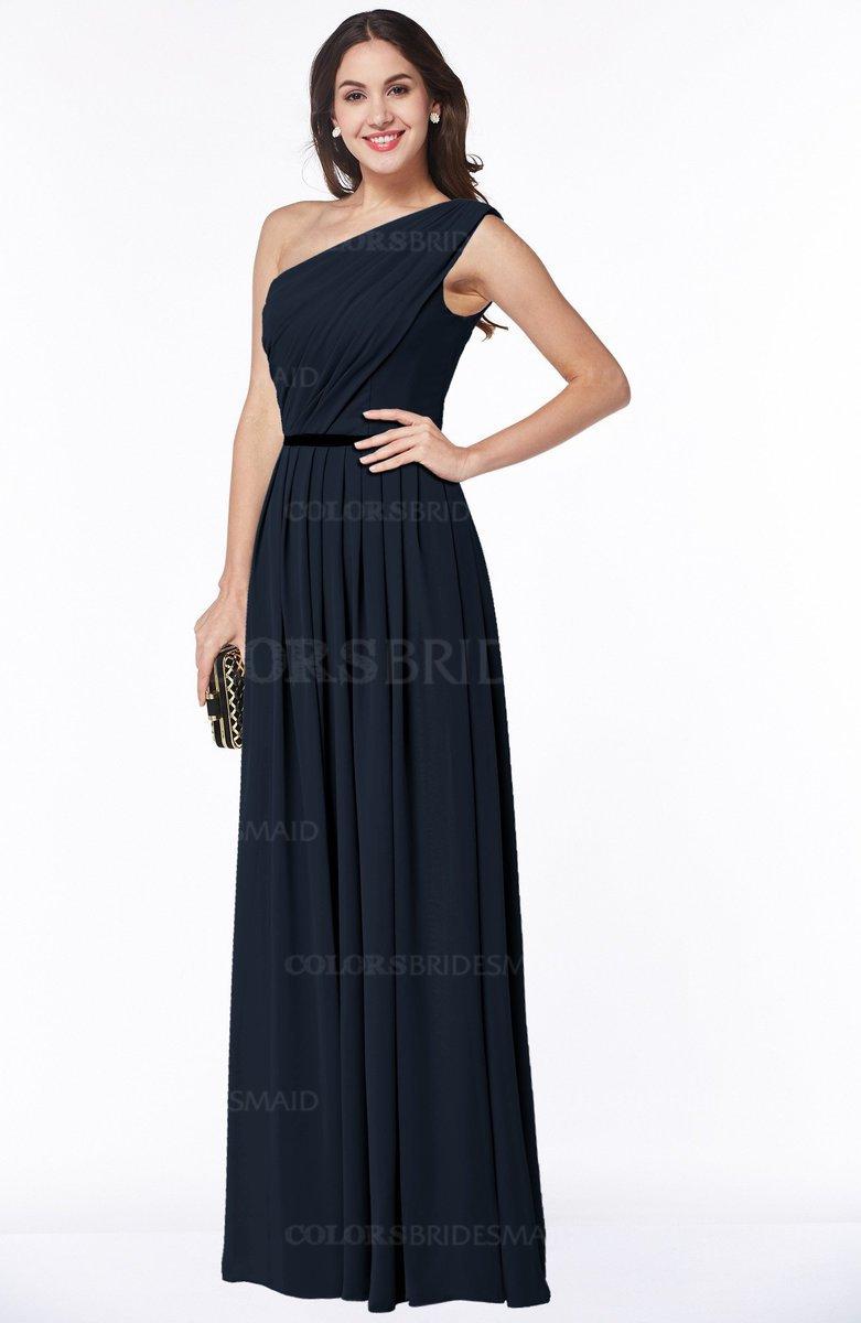 07a977ffbc4 ColsBM Tiana Navy Blue Traditional A-line One Shoulder Chiffon Floor Length  Plus Size Bridesmaid