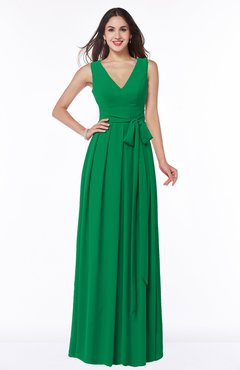 4c788a30442c ColsBM Esther Green Traditional V-neck Sleeveless Zip up Chiffon Plus Size  Bridesmaid Dresses