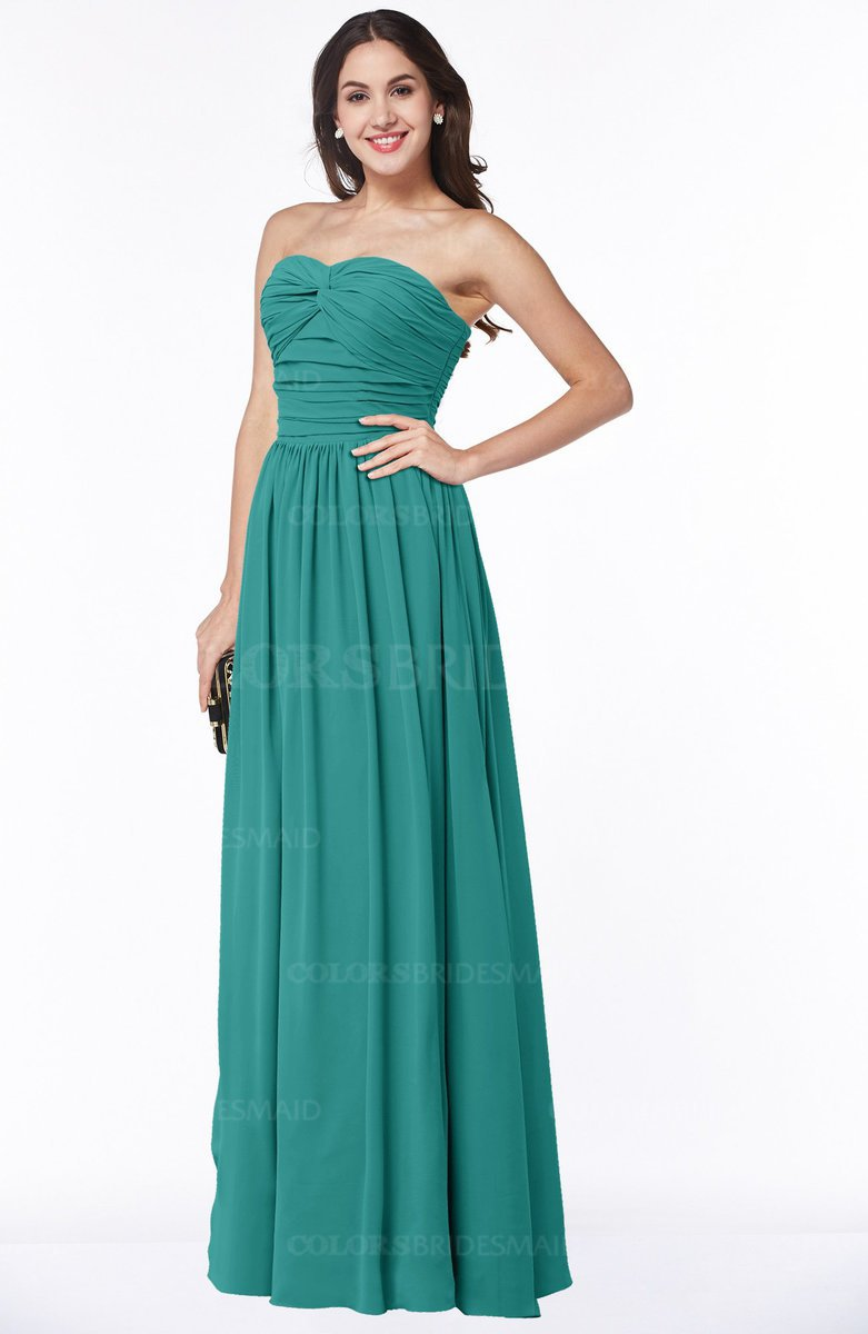 Colsbm Lily Emerald Green Plain A Line Strapless Chiffon Ruching Plus Size Bridesmaid Dresses