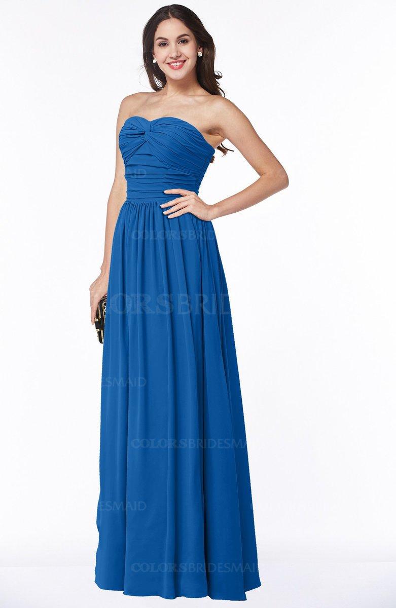 Colsbm Lily Royal Blue Plain A Line Strapless Chiffon Ruching Plus Size Bridesmaid Dresses