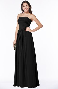 ColsBM Virginia Black Simple Sweetheart Sleeveless Chiffon Floor Length Ruching Plus Size Bridesmaid Dresses
