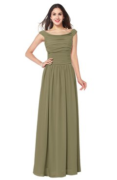ColsBM Tatiana Boa Antique A-line V-neck Sleeveless Pleated Plus Size Bridesmaid Dresses