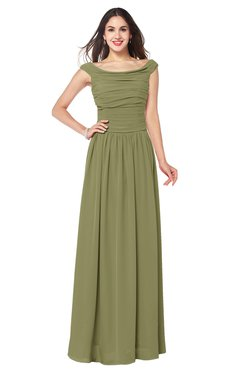 ColsBM Tatiana Cedar Antique A-line V-neck Sleeveless Pleated Plus Size Bridesmaid Dresses