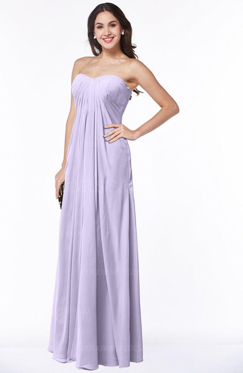 0a5a653a08e7e ColsBM Crystal Pastel Lilac Plain Empire Sleeveless Chiffon Ruching Plus  Size Bridesmaid Dresses