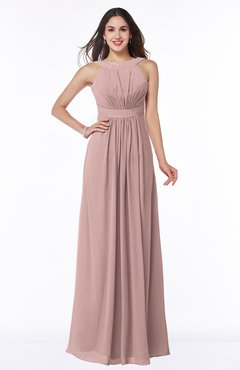 ColsBM Alicia Blush Pink Glamorous A-line Thick Straps Sleeveless Chiffon Sash Plus Size Bridesmaid Dresses